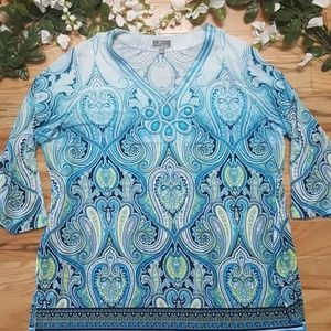 JM Collection Turquoise Top, 1X